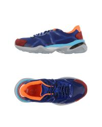 Alexander McQueen X Puma - Blue Paneled Leather Low-Top Sneakers - Lyst