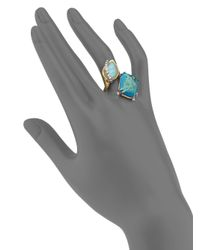 Alexis Bittar | Blue Elements Gilded Muse Chrysocolla, Amazonite & Crystal Rocky Ring | Lyst