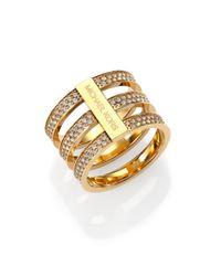 Michael Kors | Metallic Motif Pave Bar Three-Row Ring/Goldtone | Lyst