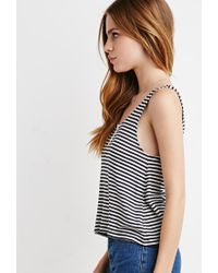 Forever 21 - Blue Ribbed Knit Stripe Tank - Lyst