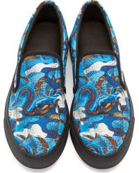 Marcelo Burlon - Blue And Brown Snake Print Slip_On Sneakers for Men - Lyst