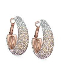 Swarovski | Pink Rose Goldtone Nude Crystal Hoop Earrings | Lyst