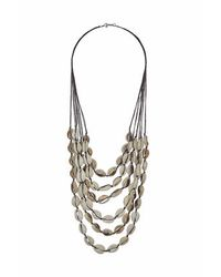 TOPSHOP - Metallic Shell And Cord Multi-row Necklace - Lyst