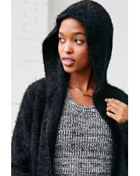 Love Madly - Black Cozy Hooded Cozy Cardigan Sweater - Lyst