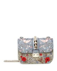 Valentino - Multicolor Rockstud Small Embroidered Shoulder Bag - Lyst
