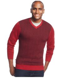 Geoffrey Beene | Red Front Intarsia Crewneck Sweater for Men | Lyst