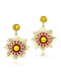 Les Nereides - Gypsunset Pink And Yellow Drop Earrings - Lyst