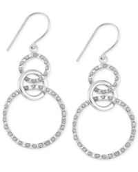 Macy's | Metallic Diamond Accent Interlocking Circle Drop Earrings In Platinum Over Sterling Silver | Lyst