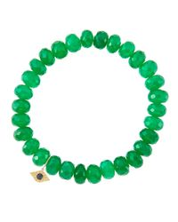 Sydney Evan | 8Mm Faceted Green Onyx Beaded Bracelet With 14K Yellow Gold/Diamond Small Evil Eye Charm (Made To Order) | Lyst