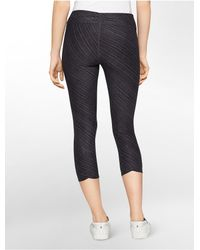 Calvin Klein | Black White Label Performance Diagonal Stripe Print Ruched Crop Leggings | Lyst