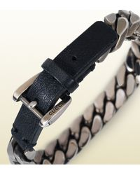 Gucci - Metallic Chain Bracelet With Leather Clasp for Men - Lyst