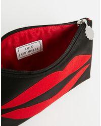 Lulu Guinness - Red Lip Blot Top Zip Makeup Bag - Lyst
