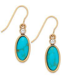 Lauren by Ralph Lauren - Metallic Gold-Tone Reconstituted Turquoise And Crystal Drop Earrings - Lyst