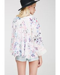 Forever 21 - Natural Crochet-paneled Floral Print Cardigan You've Been Added To The Waitlist - Lyst