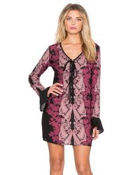 Band Of Gypsies | Black Lace Front Mini Dress | Lyst