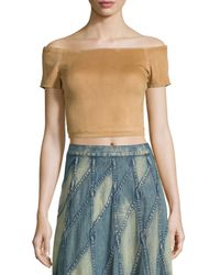 Alice + Olivia   Brown Gracelyn Suede Off-the-shoulder Cropped Top   Lyst