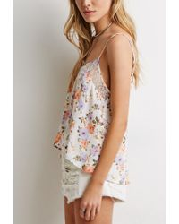 Forever 21 - Multicolor Lace-paneled Floral Print Cami - Lyst