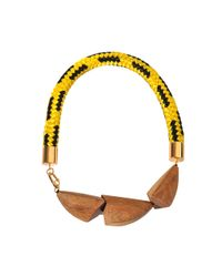 Marni | Yellow Cord And Wood Court Necklace | Lyst