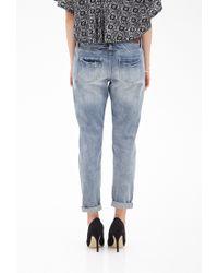 Forever 21 - Blue Slim Distressed Boyfriend Jeans - Lyst