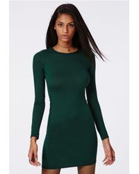 Missguided - Rainey Long Sleeve Bodycon Dress Deep Green - Lyst