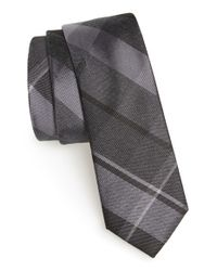 Calibrate | Black 'rhodes Plaid' Silk Blend Tie for Men | Lyst