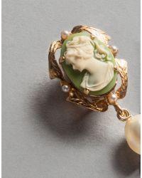 Dolce & Gabbana - Green Flower Cameo Earrings - Lyst