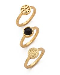 Tory Burch - Metallic Livia Stacked Ring Set Blackshiny Brass - Lyst