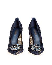 Dolce & Gabbana - Black Crystal-embellished Lace Pumps - Lyst