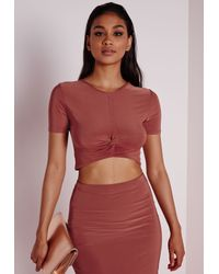 45a5cbd358a8e5 Women s Red Knot Front Capped Sleeve Slinky Crop Top Terracotta