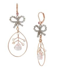 Betsey Johnson | Pink Ballerina Rose Bow Orbital Drop Earrings | Lyst