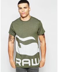 G-Star RAW - Green Be Raw Exclusive To Asos T-shirt Zoldin Longline Crew Large Logo In Forest Night for Men - Lyst