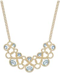 Style & Co. | Metallic Style&co. Gold-tone Blue Stone Loop Frontal Necklace | Lyst