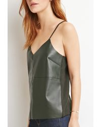 Forever 21 | Green Contemporary Faux Leather Cami | Lyst