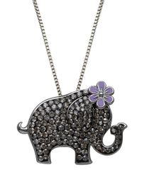 Lord & Taylor | Black Sterling Silver And Crystal Elephant Pendant Necklace | Lyst