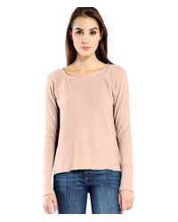 Michael Stars | Natural Brushed Jersey Notch Neck Sweatshirt With Thumbholes | Lyst