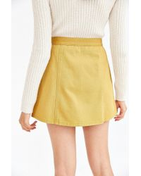 BDG | Yellow Twill Button-front A-line Skirt | Lyst