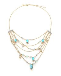 Alexis Bittar | Metallic Elements Crystal, Howlite & Fluorite Spike Accented Multi-strand Necklace | Lyst