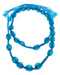 Pleats Please Issey Miyake - Blue Covered Bead Necklace - Lyst