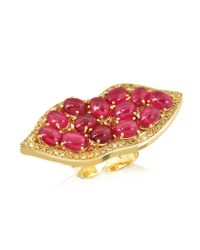 Bernard Delettrez | Metallic Big Mouth W/cabochon Rubies Gold Ring | Lyst