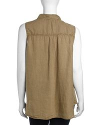 Raison D'etre - Brown Elizabeth Sleeveless Frayed Linen Top - Lyst