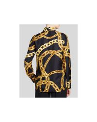 Boutique Moschino - Metallic Chain Print Silk Tie Neck Blouse - Lyst