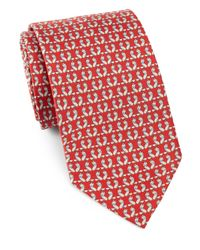 Ferragamo | Red Foxes & Bow-ties Silk Tie for Men | Lyst