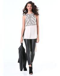 Bebe - Gray Embellished Open Side Tunic - Lyst