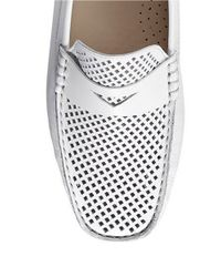 Cole Haan - White Trillby Driver Leather Loafers - Lyst