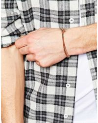 ASOS - Brown Key Ring And Leather Bracelet Gift Set for Men - Lyst