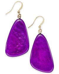 Style & Co. | Gold-tone Purple Shell Drop Earrings | Lyst