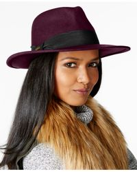 Nine West | Purple Felt Flat Brim Fedora | Lyst