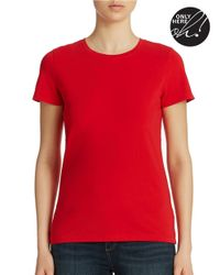 Lord & Taylor | Red Stretch-cotton Tee | Lyst