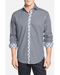Thomas Dean | Blue Regular Fit Gingham Twill Sport Shirt for Men | Lyst