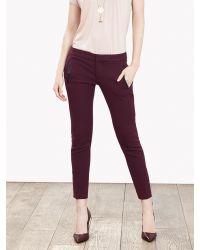 Banana Republic | Purple Sloan-fit Faux-leather Trim Ankle Pant | Lyst